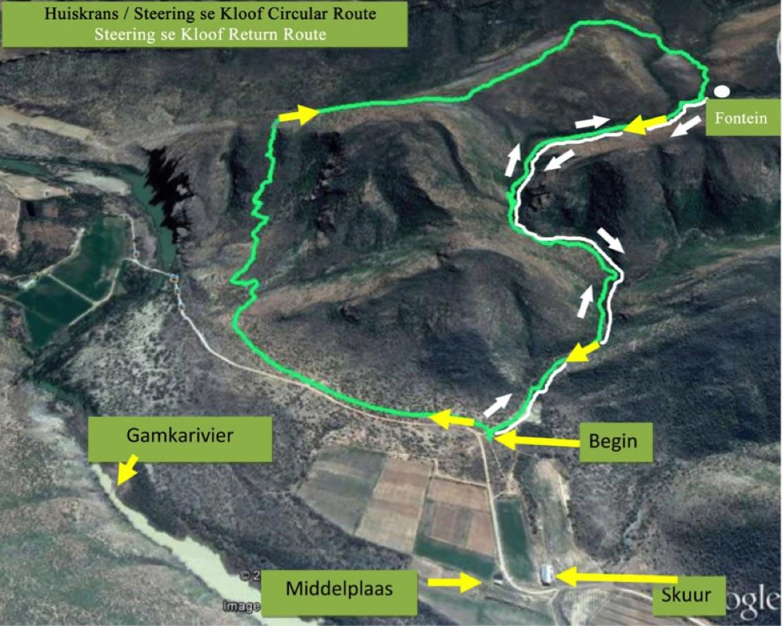 Map of Steering se Kloof return path in Matjiesvlei