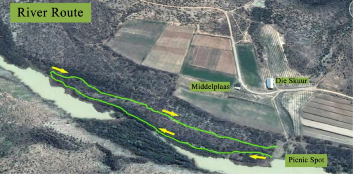 Map of the River Route near Middelplaas Matjiesvlei Cottage